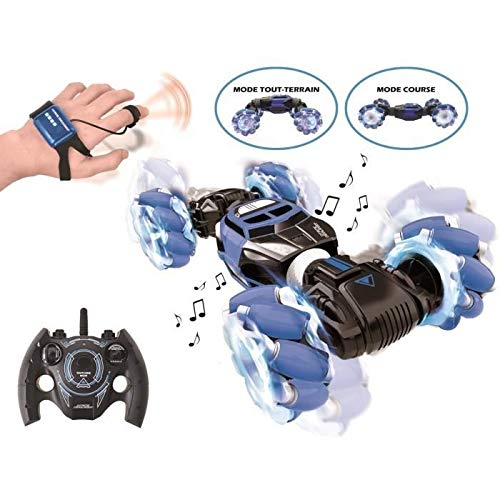 Lexibook- Extreme Crosslander Voiture Tout-Terrain Lumineuse, télécommande, Bracelet de contrôle gestuel, Rechargeable, Jeu électronique d'action, Bleu/Noir, RC50