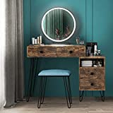 LVSOMT Makeup Vanity Desk Set with Round Mirror and Dimmable LED Lights, Dressing Table w/Storage Cabinet, Drawers, Cushioned Stool, 3 Color Lighting Modes & Touch Screen, Bedroom Furniture (Brown)