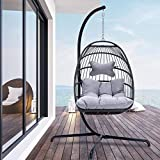 Indoor Outdoor Patio Wicker Hanging Chair Swing Hammock Egg Chairs UV Resistant Cushions with Aluminum Frame 350lbs Capaticy for Patio Bedroom Balcony (Grey)