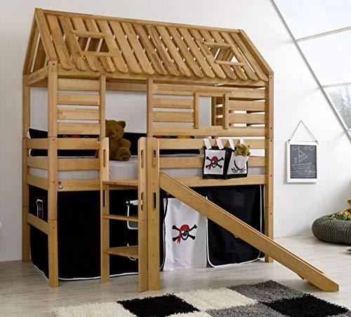 Froschkönig24 Hochbett Tom´s Hütte 1 Kinderbett mit Rutsche Spielbett Bett Natur Stoff Pirat