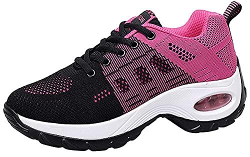 Zapatos cuña Mujer Zapatillas de Deportivas Plataforma Mocasines Primavera Verano Planas Ligero Tacon Sneakers Cómodos Zapatos para Mujer, Rojo,38 EU