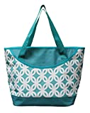 Earthwise Insulated Grocery Bag Reusable Large Cooler Shopping Tote with Zipper Closure, Thermal Peva Lining and Front Pocket for Entertainment, Picnics, Travel, Beach