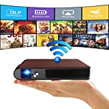 WIKISH Mini Wireless Wifi Projector Portable Dlp Lcd Outdoor Theater Pocket 3D Movie Projector 8400mAh Battery Mirror Airplay for Dvd Tv Stick Ps4