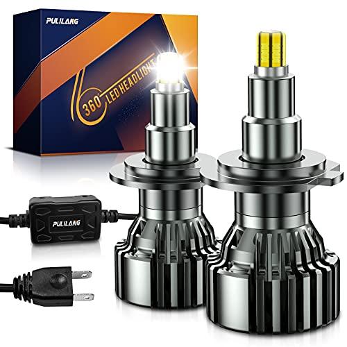 Pulilang Lampadine Auto LED H7 Lampadina per Faro Fascio 360  Completo Lampadine per fari a LED Fascio alto- 6 Lati 18 Pezzi Chip CSP 60W Lampada LED Luminosa Delle Auto 6000K 16000LM