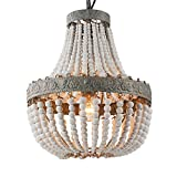 Newrays Wood Bead Chandelier Pendant Gray White Finishing Bohemian Boho Beachy Ceiling Lamp Light Fixtures( Antique White)