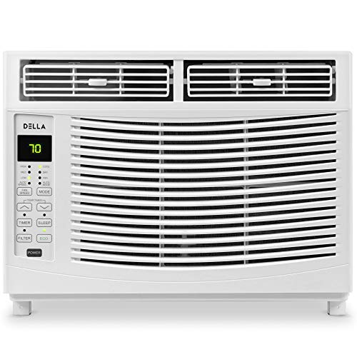 Della 6000 BTU Window Air Conditioner 690W, 110V/60Hz, 12.2 (EER) Energy Star Efficient Cooling Rooms up to 250 Sq. Ft. with 46 Pint/24hrs Dehumification, Digital Display with Remote