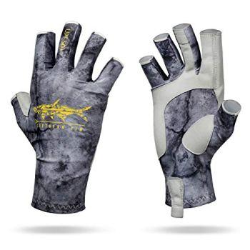 Southern Fin Apparel Kayak Fishing Gloves for Men Women Kids UPF50+ UV Sun Protection Fingerless Flyfishing, Rowing, Kayaking, Paddling, (Black, Large/X-Large)