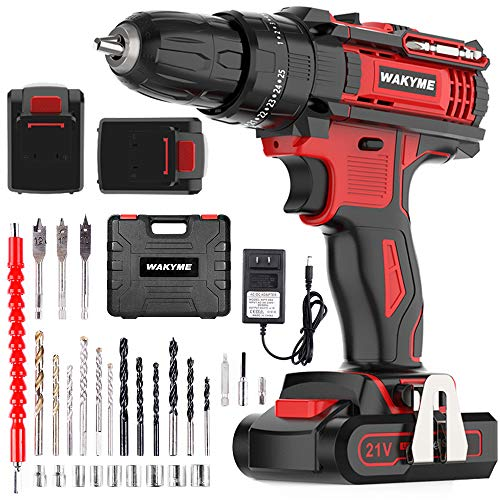 WAKYME Cordless Drill Driver Kit with 2 Batteries, 21V Impact Drill 350 In-lb Torque 25+3 Clutc…