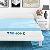 GREHOME Mattress Topper Full, 2 Inch Gel Infused Memory Foam Mattress Topper, Mattress Topper for Full Bed, 53 x 74 x 2 inches (135 x 188 x 5.08 cm)