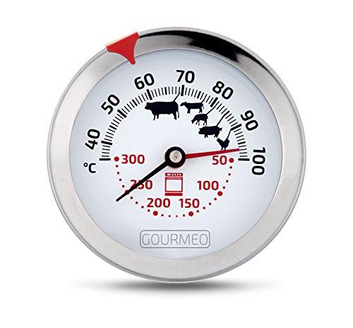 GOURMEO® 2-in-1 Fleischthermometer (Fleisch und Ofentemperatur) aus Edelstahl mit Garpunktanzeige | Bratenthermometer, Grillthermometer, Ofenthermometer