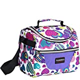 Kids Lunch Bag insulated Lunch Box Lunch Organizer Cooler Bento Bags for School Work/Girls Boys Children Student Women with Adjustable Strap and Zip Closure Travel Lunch Tote, Front Pocket (purple)