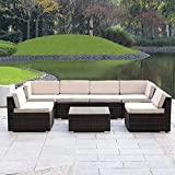 Haverchair 7 Pieces Patio Rattan Wicker Outdoor Furniture Sectional All-Weather Sofa 7-Piece Conversation Set with Cushions (7 Pieces)
