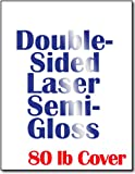 Double Sided Semi Gloss Cardstock for Laser Printers - Thick 80lb Cover (216gsm) - 8-1/2' x 11' (50 Sheets)