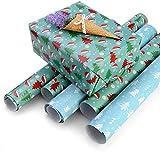 Faburo 10pcs Cadeau de Noël Wrap Papier Cadeaux de Noël décoratifs Rouleaux...