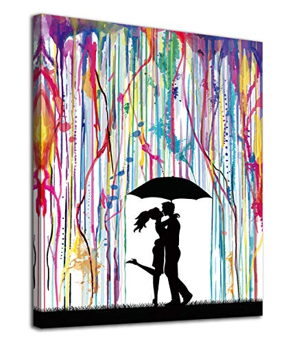 Abstract Wall Art Couples in Rain Bedroom Decor Colorful Romantic...