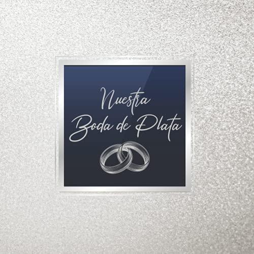Libro de firmas para bodas de plata: Para recuerdos de invitados para aniversario boda de plata 25 años casados, Regalo o detalle para aniversario de pareja. Portada Plateada. Español