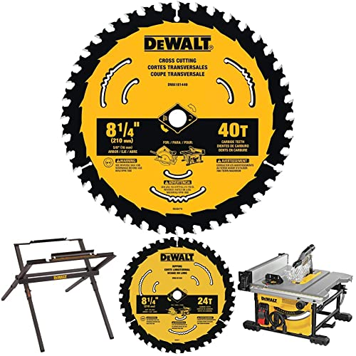DEWALT Table Saw Stand, 10-in & Table Saw for Jobsite, Compact, 8-1/4-In (DW7451 & DWE7485) with 8-1/4-In, 40-Tooth Circular Saw Blade & 8-1/4-In, 24-Tooth Circular Saw Blade (DWA181440 & DWA181424)