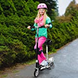 Two-Wheel Electric Scooter 2-in-1 Riding Mode Portable Com-muter with Adjustable Height Handlebar Movable Seat Folding Scooter for Adult Kids