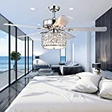 """Wolland 52"""" Modern LED Crystal Ceiling Fan with Lights Low profile ceiling fan 5 Wooden Blades Indoor Outdoor Use for Living Room Bedroom Dining Bar Restaurant Ceiling Fan Chandelier Chrome"""