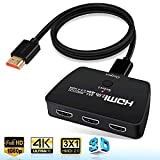 4K@60Hz HDMI Switch,NEWCARE HDMI Switch 3 in 1 Out,3-Port HDMI Switcher Selector,Supports 4K,3D,HDCP2.2,HDMI2.0,HDR,for Apple TV 4K, Fire Stick, HDTV, PS4, Game Consoles, PC and More.