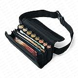 Securina24 - Sacoche - Porte Monnaie et Billets portefeuille pour serveur comprenant un monnayeur à 8 compartiments avec bandoulière