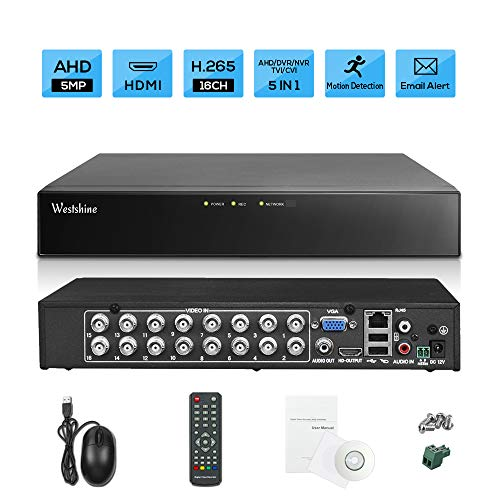 Westshine 16CH 5MP DVR H.265 CCTV Security Digital Video Recorder,4K output/P2P Cloud/Motion Detection Email Alert/Remote Smartphone Access-Fits for 5MP/4MP/1080P AHD/TVI/CVI/IP Camera(NO Hard drive)
