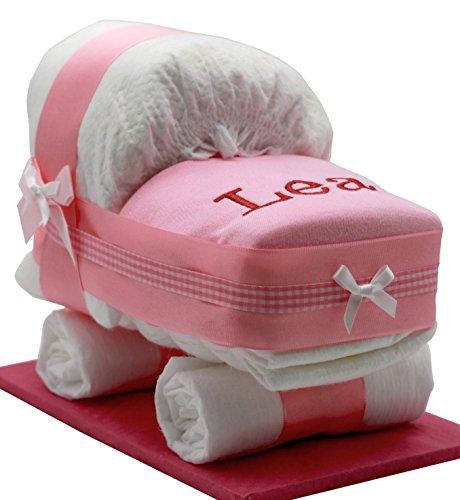 Windeltorte/Windelwagen rosa für Mädchen – mit besticktem, personalisierten Lätzchen & Glückwunschkarte