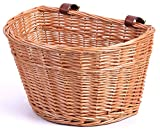 Vintiquewise Wicker Front Bike Basket with Faux Leather Straps (QI003420)