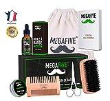 Kit barbe pour soin et entretien composé de Huile de Barbe,Baume de Barbe,Brosse à Barbe,Ciseaux à Barbe et Peigne à Barbe (Kit d'entretien de barbe)
