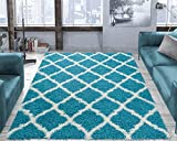 Ottomanson shag Collection Area Rug, 5'3' x 7', Turquoise