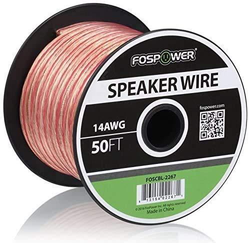 FosPower 14AWG 純銅 高純度OFC スピーカーケーブル/スピーカーワイヤー【14ゲージ | 15メートル】アンプや...