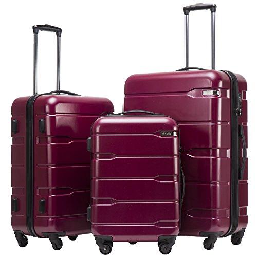 COOLIFE Koffer Reisekoffer Vergrößerbares Gepäck (Nur Großer Koffer Erweiterbar) PC + ABS Material mit TSA-Schloss und 4 Rollen(Radiant Pink, Koffer-Set)