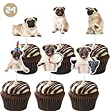 Pug Cupcake Toppers Puppy Dog Theme Cake Decorations Birthday Party Topper for Children