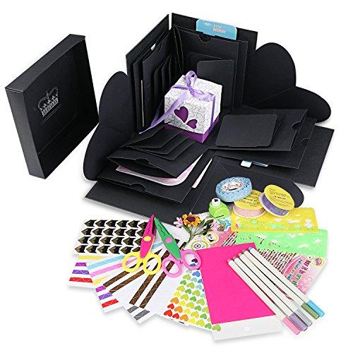 WIMI Explosion BOX Scrapbook DIY Album de fotos para cumpleaños aniversario San Valentín regalo de boda (Negro con caja blanca)