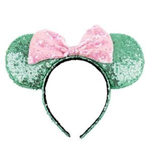 Mouse Ears with Pink Big Bow Headband Hoop Hair Accessories for Girls Birthday Party Travel Festivals