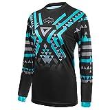Wisdom Leaves Women's Cycling Jersey Long Sleeve Mountain Bike Shirt BMX Jersey Breathable/Moisture-Wicking Black Blue