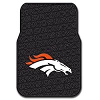 "Debossed, black detailed mats feature NFL team logo Comes in pair of 2 mats; durable; fits most car floors Measures 17.5""W x 25.5""L Spot clean with mild solution or remove to wash with warm water and air dry. Made of 100% Debossed Rubber"