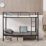 Giantex Metal Bunk Bed Twin Over Twin, Removable Ladder and Safety Guard Rails, Space Saving Design, Heavy Duty Twin Bed Frame for Kids Adult Children Bedroom Dorm (Black)