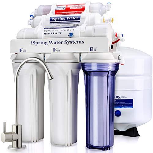 iSpring 75GPD Sistema Filtrazione Acqua 6 Fasi a Osmosi Inversa Alcalina, Modello RCC7AK