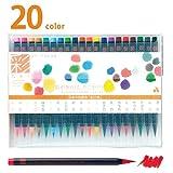 Akashiya CA200/20V Sai Watercolor Brush Pen - 20 Color Set (1, DESIGN 1)