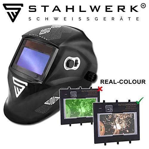 STAHLWERK ST-550L Vollautomatik Schweißhelm, Optische Klasse: 1/1/1/1, großes Sichtfeld, inkl. 5 Ersatzscheiben & Tasche, 5 Jahre GARANTIE auf FILTER