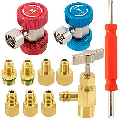8 Pack AC R134A Freon Charging Tool Kits- 2pcs R134A Quick Coupler High Low Adapter+ Self-Sealing Can Tap Valve+ Valve Core Remover+ 4pcs 6014 Vacuum Pump Refrigerant Tank Adapter AC Recharging Tools