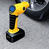 Tire Inflator Air Compressor, 12V Cordless Car Tire Pump with Rechargeable Li-ion Battery, 12V Car Power Adapter, Digital Pressure Gauge Perfect for Car, Bicycle, Motorcycles, Airbeds, Basketball
