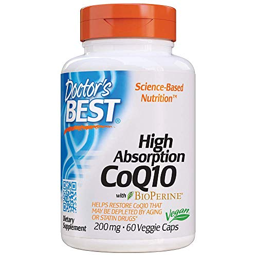 Doctor's Best High Absorption CoQ10 with BioPerine, Gluten Free, Naturally Fermented, Vegan, Heart Health and Energy Production, 200 mg 60 Veggie Caps