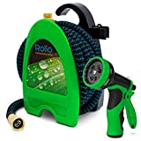 Rolio Expandable Garden Hose with Hose Reel - 50 FT Garden Hose with 9 Function Spray Nozzle Included, 3/4' Solid Brass Fittings, No Kinks