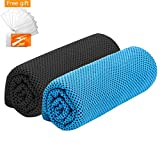 Ice sports towel for instant cooling relief summer cool towels 2 pack chilly towel for men women kids cool down neck towel head wrap scarf bandanas wrist band for gym golf yoga workout travel hiking