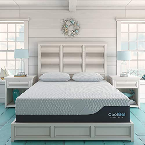 Classic Brands Cool Gel 2.0 Ultimate Gel Memory Foam 14-Inch Mattress with 2 BONUS Pillow , California King, White