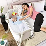 Baby Bassinets – Adjustable and Easy to Assemble Bassinet for Baby, Lightweight Baby Bassinet and Bedside Sleeper for Safe Co-Sleeping with Detachable Side Panel, CPSC and ASTM Certified Moses Basket