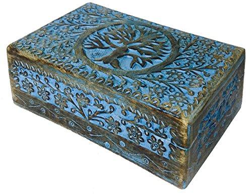 Vrinda® Caja de madera tallada a mano árbol de la vida 8pulgadas x 5pulgadas.