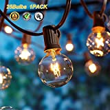 Upook Globe String Lights G40 UL Listed Patio Lights for Indoor Outdoor Commercial Decor 25Ft with 25 Clear Bulbs Outdoor String Lights for Party Wedding Garden Backyard Deck Yard Pergola Gazebo